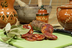Slices of iberian chorizo with paprika, high quality traditional spanish gastronomy Stock Images