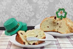 Irish Soda Bread, whole and sliced. Royalty Free Stock Image