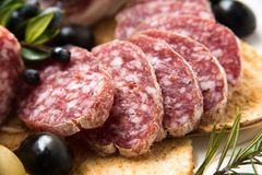 Cacciatore, Sliced Italian Salami Royalty Free Stock Photos
