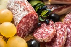 Cacciatore, Sliced Italian Salami Stock Photos