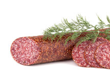 Slices italian salami sausage with dill Royalty Free Stock Photography