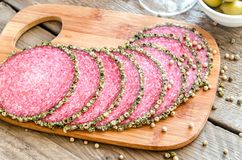 Slices of italian salami Stock Photo