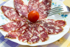 Slices of Italian sausage Royalty Free Stock Photography