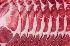 Slices of jamon in the frame Stock Image