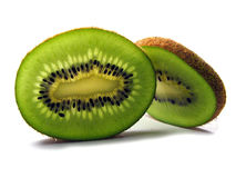 Slices of kiwi. Two slices of kiwi on a white background Stock Photos