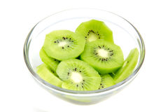 Slices of kiwi fruit on bowl Royalty Free Stock Image