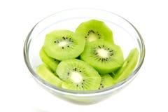 Slices of kiwi fruit on bowl Royalty Free Stock Image