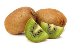 Slices kiwi fruit isolated on white background Royalty Free Stock Photos