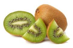 Slices kiwi fruit isolated on white background stock images