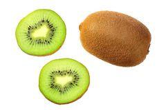 Slices kiwi fruit isolated on white background . top view stock images
