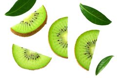 Slices kiwi fruit with leaves isolated on white background . top view royalty free stock photography