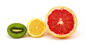 Slices Kiwi, Lemon, Grapefruit Royalty Free Stock Images