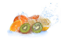 Slices of kiwi,  orange and  lemon Stock Photos
