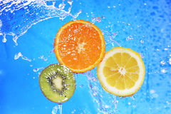 Slices of kiwi,  orange and  lemon Stock Photo