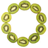 Slices of kiwi stacked in form ring isolated on white Royalty Free Stock Images