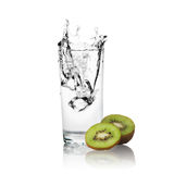 Slices of kiwi and water of glass Stock Photo