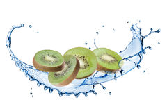 Slices of kiwi with water splash isolated on white Royalty Free Stock Images