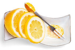 Slices of lemon. Close up slices of lemon  on a white background Royalty Free Stock Photos