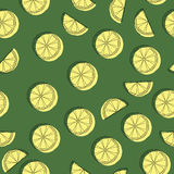 Slices of lemon in the background. Fruit Wallpaper. Colorful seamless pattern with fresh fruit collection. Stock Images