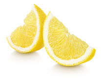 Slices of lemon citrus fruit isolated on white Royalty Free Stock Images