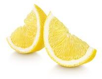 Slices of lemon citrus fruit isolated on white Royalty Free Stock Images