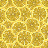 Slices of lemon in a cut, seamless pattern, fruit background. Painted citrus, graphic art, cartoon. For the design  the fabric, pr. Slices of lemon in a cut Stock Images