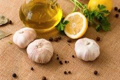 Slices of lemon, garlic cloves and parsley on white background Stock Image