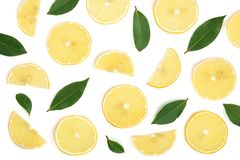 Slices lemon with leaves isolated on white background. Flat lay, top view.  Royalty Free Stock Photos