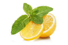 Slices of lemon and mint Stock Photo