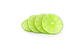 Slices of lemon  on white background Royalty Free Stock Images