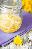 Slices of lemons in the glass jar Royalty Free Stock Photo