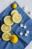 Slices of lemons and sugar cubes Stock Photography