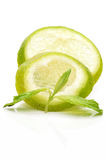 Slices of lime with a branch mint Stock Photography