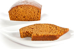 Slices and loaf of freshly baked pumpkin bread Royalty Free Stock Image