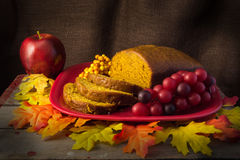 Slices and Loaf of Freshly Baked Pumpkin Bread Stock Images