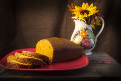 Slices and Loaf of Freshly Baked Pumpkin Bread Royalty Free Stock Photos