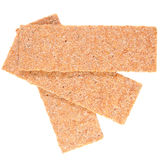 Slices of low caloric crispbread. Isolated on white royalty free stock photos