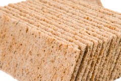 Slices of low caloric crispbread. Isolated on white stock photos