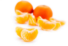 Slices of mandarin. Close-up Stock Photos
