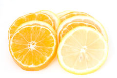 Slices of mandarin and lemon Stock Photo