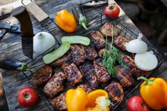Slices of meat on the grill, on a wooden table with vegetables. Summer picnic in nature with delicious food. Royalty Free Stock Photo