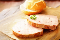 Slices of meat loaf made from beef and pork Stock Photo