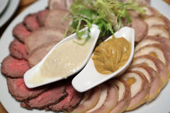 Slices of meat with mustard Royalty Free Stock Photo