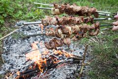 Meat prepare on fire. Slices of meat prepare on fire Royalty Free Stock Photography