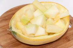 Slices of melon in the half of melon as bowl Stock Photography