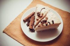 Slices of milk souffle Stock Photo