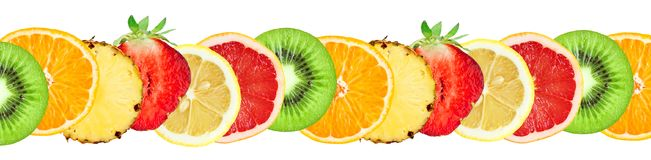 Slices of mixed fruits Stock Photography