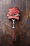 Slices Of Beef Steak On Meat Fork Stock Image