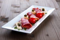 Slices Of Delicious Prosciutto Stock Photos