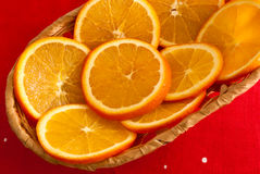Slices of an orange in a basket Royalty Free Stock Photography